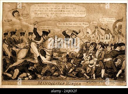 Una caricatura política satírica de 1819 acerca de los disturbios en Manchester (Reino Unido). La masacre de Peterloo tuvo lugar en San Pedro el campo, Manchester, el lunes 16 de agosto de 1819. La caballería cargada en una multitud de 60.000-80.000 que se habían reunido para exigir reformas en la representación parlamentaria.