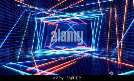 Interior abstracto azul y rojo con luz de neón. Lámpara fluorescente. Arquitectura futurista de fondo. ilustración 3d de las lámparas de neón que se iluminan