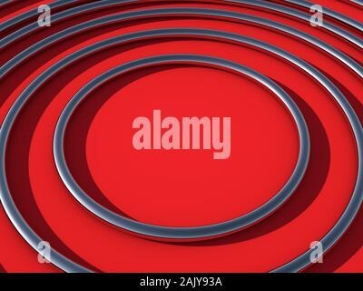 3D Render abstracto de brillantes anillos de metal reflectante centrando la atención, como destino. Colores: Rojo escarlata (FLAME) antecedentes. Espacio para el texto copia