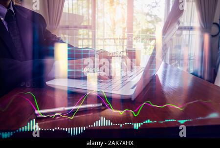 Bolsa o forex gráfico y gráfico candelabro adecuado para el concepto de inversión financiera. Fondo de las tendencias de la economía y una idea de negocio