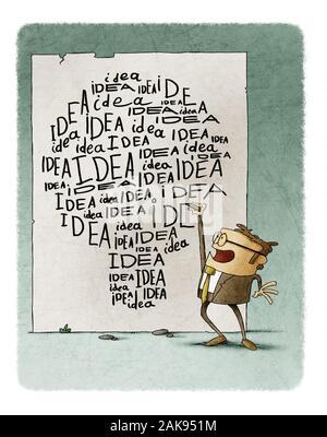 Empresario escribe muchas veces la palabra idea en la pared, las palabras que la forma de una bombilla. Foto de stock