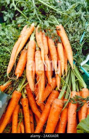 Verduras frescas de zanahoria orgánica sin cocinar para la venta en el mercado de los agricultores. Alimentos veganos y nutrición sana Concept.Top ver foto de stock de estilo de vida