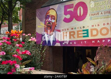 Cartel conmemorativo del 50 aniversario de la marcha de Martin Luther King en Washington, King Historic District, Atlanta, Georgia, EE.UU