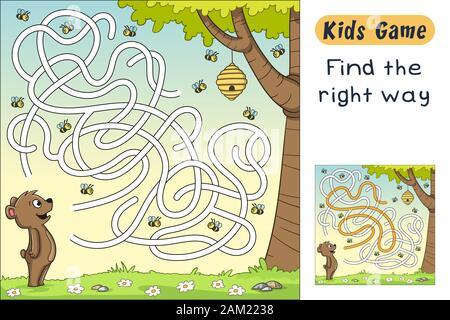Encontrar el camino correcto. Divertido juego de dibujos animados para niños, con solución. Ilustración vectorial con capas separadas.