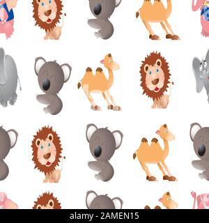 vector sin costuras lindo animales diseño arte