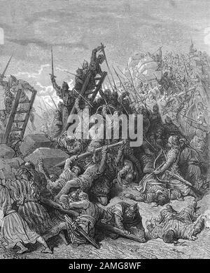 Las cruzadas fueron una serie de guerras religiosas en Asia occidental y Europa iniciadas, apoyadas y a veces dirigidas por la Iglesia Católica, Tormenta en Damiette, una ciudad importante durante las cruzadas de los siglos 12 y 13. En 1169, una flota del reino de Jerusalén atacó el puerto con el apoyo del Imperio Bizantino, pero fue derrotado por Saladino, Sturm auf Damiette, Damiette guerra zur Zeit der Kreuzüge im 12. Und 13. Jahrhundert eine bedeutschen Stadt. 1169 griff eine Flotte aus dem Königreich Jerusalem den Hafen mit Unterstützung des Byzantinischen Reichs an, wurde aber von Sa