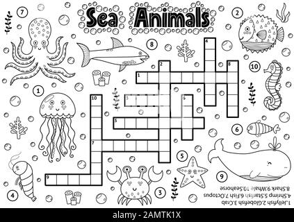Crucigrama blanco y negro con animales marinos para colorear