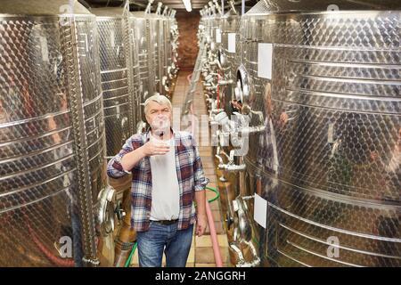Enólogo mayores como un vino master tomando una copa de vino tinto en frente de un tanque de fermentación