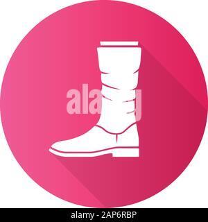 Las mujeres botas de ternera rosada diseño plana larga sombra glifo icono. Vista lateral de los zapatos de cuero. Hembra talón plano el diseño de calzado para el otoño, primavera e invierno Foto de stock
