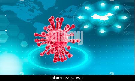 Vista microscópica del coronavirus, un patógeno que ataca el tracto respiratorio. Sras. Contagio. Enfermedad infecciosa. Mapa del mundo con lo más destacado de China