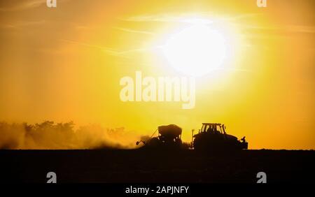Silueta de un tractor sembrando semillas en un campo en una nube de polvo contra el fondo de la puesta de sol.