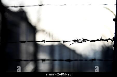 Oswiecim, Polonia. 27 de enero de 2020. Alambrada de púas en el borde de la conmemoración del 75 aniversario de la liberación del campo de concentración alemán Auschwitz. Crédito: Britta Pedersen/dpa-Zentralbild/ZB/dpa/Alamy Live News