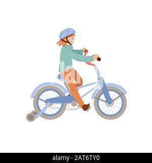 Una linda adolescente o una niña pre-adolescente monta una bicicleta de 4 ruedas en un casco, haciendo actividades deportivas de verano. Sonriente niña feliz en una bicicleta, ilustración vectorial Foto de stock