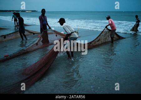 Pescadores sacando las redes del océano en la playa de Sri Lanka. La ciudad de Trincomalee tiene una gran y larga playa donde los lugareños tiran de redes y peces.
