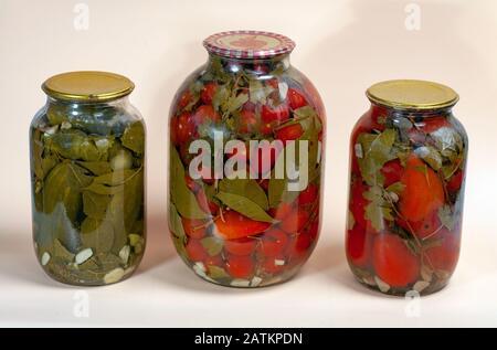 verduras enlatadas tomates pimientos pepinos en tarros de vidrio con salmuera. Los vegetales enlatados caseros del granjero de su propio jardín.