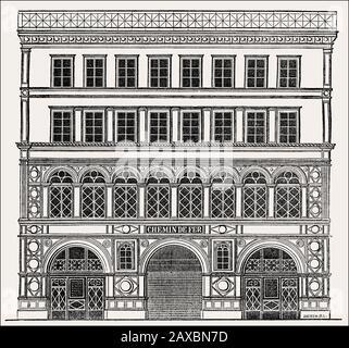 La fachada planeada de la estación Madeleine, Rue Tronchet, París, Francia, 1830