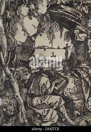 San Jerónimo en la cueva, 1570. Xilografía en papel. Por Albrecht Durer (1471-1528). Biblioteca Nacional. Madrid. España.