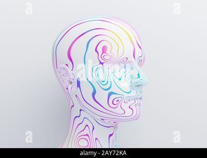 Resumen cabeza humana, presentación 3d, concepto de inteligencia artificial