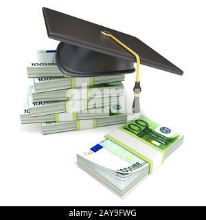 Concepto de educación. Graduación de la tapa de la pila de billetes en euros. 3D