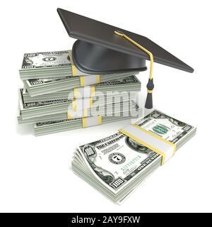 Concepto de educación. Graduación de la tapa de la pila de billetes de dólar. 3D