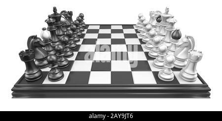 Tablero de ajedrez con todas las piezas de ajedrez 3D