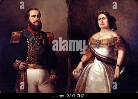 François-René Moreaux - Imperador D.Pedro II e Imperatriz Teresa Cristina. Foto de stock