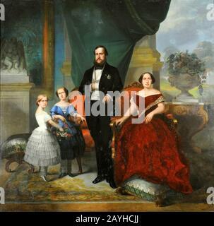 François-René Moreaux - o imperador D. Pedro II, sua esposa Teresa Cristina e suas filhas, princesas Isabel e Leopoldina, 1857. Foto de stock