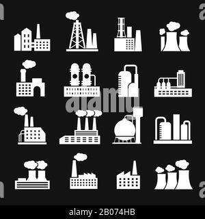 Industria manufactoría edificios fábrica y planta siluetas iconos vectoriales. Fabricación industrial e ilustración de fábrica de energía