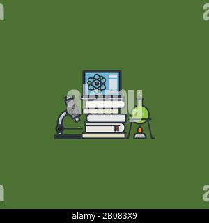 Equipo científico, libros y computadora portátil ilustración vectorial para el día de la Educación Científica el 14 de marzo.