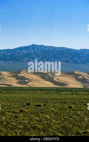 MONGOLIA, CERCA DE DALANZADGAD, DESIERTO DE GOBI EN KHONGORYN ELS (DUNAS DE ARENA), MONTAÑAS