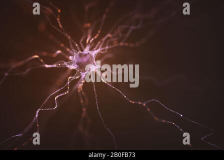 Imagen conceptual de una neurona energizada con carga eléctrica. Concepto de ciencia e investigación del cerebro humano, ilustración en 3D.