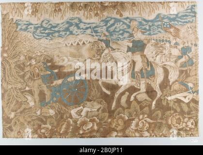 Pieza, americana, ca. 1846–48, norteamericano, algodón, impreso, 14 3/4 x 21 pulg. (37.5 x 53.3 cm), Textiles