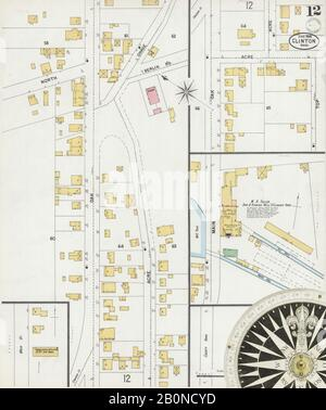 Imagen 12 De Sanborn Fire Insurance Map De Clinton, Worcester County, Massachusetts. Jun 1899. 12 Hoja(s), América, mapa de calles con una brújula del siglo Xix