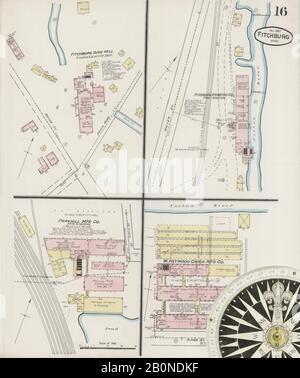 Imagen 16 De Sanborn Fire Insurance Map De Fitchburg, Condado De Worcester, Massachusetts. Nov 1887. 17 Hoja(s), América, mapa de calles con una brújula del siglo Xix
