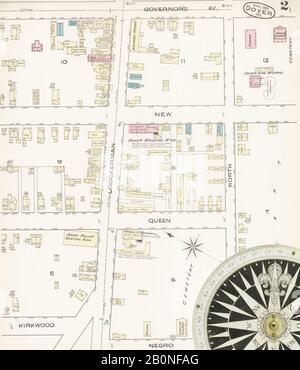 Imagen 2 De Sanborn Fire Insurance Map De Dover, Kent County, Delaware. Abr 1885. 4 Hoja(s), América, mapa de calles con una brújula del siglo Xix