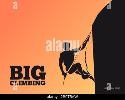 Silueta negra del hombre en la montaña al atardecer - escalada de fondo. Hombre de deporte de escalada en roca. Ilustración vectorial