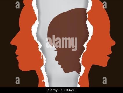 Padres divorciados y niño triste. Papel roto con el hombre, la mujer y el niño estilizados siluetas que simbolizan el efecto del divorcio en el niño.