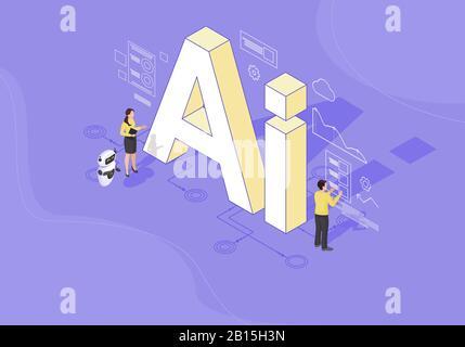 AI: Ilustración de vector de color isométrico