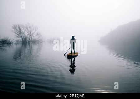 Silueta de mujer de pie remar surfing en un lago