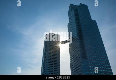 Japón, Tokio, los rascacielos de la ciudad vista desde un barco de vela en el río Sumida Foto de stock