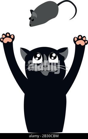 Un gato negro está jugando con un ratón. Depredador. Diseño para tienda de mascotas, clínica veterinaria y refugio.