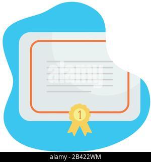 Papel de certificado con sello número uno diseño de iconos de estilo bloque plano, ganador primera posición competencia éxito deporte mejor liderazgo competir y desafío tema ilustración vectorial