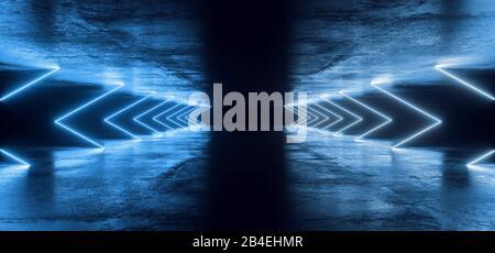 Sci Fi Abstract Futurista Moderno Oscuro Vacío Grunge Concreto Texturizado Corredor Largo Túnel Con Tubo Láser Neon Led Líneas De Luz Glowingclassic Pantone