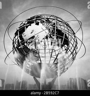 Globe en el recinto de la Feria Mundial de Nueva York 1964 en Queens, Nueva York.