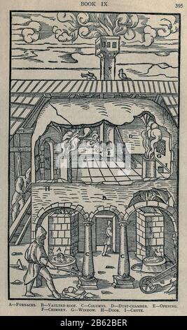 Fundición de metal Georgius Agricola de re metallica, traducido al inglés de la primera edición latina de 1556, impreso en Londres por la revista Mining en 1912