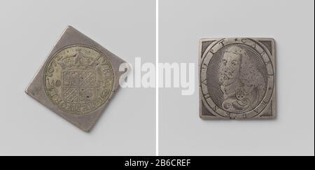Sitio de Groningen, moneda de emergencia con un retrato de Karl Rabenhaupt ruitvormige noodmunt met afgeronde hoeken. Voorzijde: Gekroond wapenschild (grote stempel) tussen