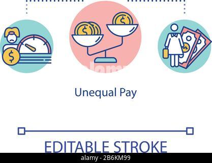 Icono de pago desigual. La diferencia salarial entre hombres y mujeres en el trabajo, la desigualdad de empleo entre hombres y mujeres, la idea de discriminación, la ilustración de la línea delgada. RGB de contorno aislado vectorial