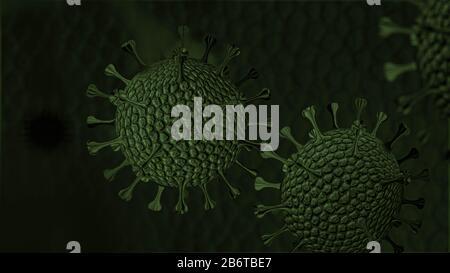 Antecedentes de coronavirus, muchos virus con desenfoque y espacio de copia
