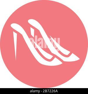 día de la madre, par de zapatos de tacón alto moda vector ilustración bloque estilo icono Foto de stock