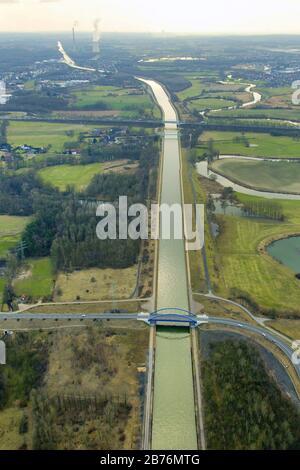 , nuevo puente Tibaum sobre Datteln hamm chanel en Herringen, 06.03.2012, vista aérea, Alemania, Renania del Norte-Westfalia, Área de Ruhr, Hamm